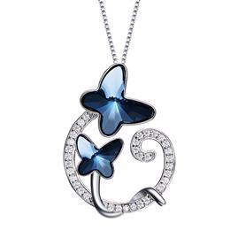 Necklace Women Pendants S925 Sterling Silver Blue Butterfly Design