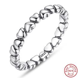 925 100% Solid Sterling Silver Forever Love Heart Finger Ring