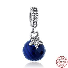 Real 925 Sterling Silver Moon Star, Midnight Blue Crystal