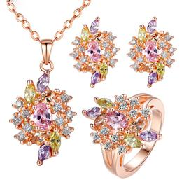 Luxury Gold Color Engagement Jewelry Sets With AAA Colorful Cubic Zircon For Women