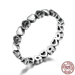 925 Sterling Silver Stackable Ring Heart Black CZ Finger Rings