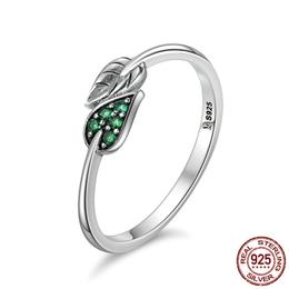100% 925 Sterling Silver Dancing Leaves Leaf Green Dazzling CZ Finger Rings