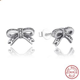 Delicate 100% 925 Sterling Silver Sparkling Bow Stud Earrings