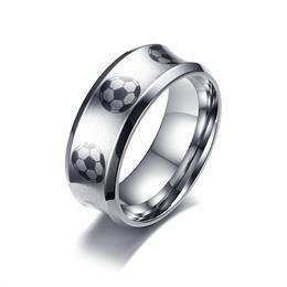 60%OFF Quality Football Pattern Ring For Men Stainless Steel Male Soccer Ring