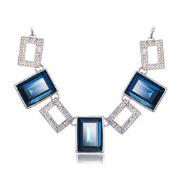 Austrian Rhinestone Paved Square Pendants Women Necklace Trendy Pendant Necklaces