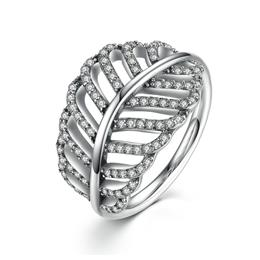 Classic Popular Silver Color Leaves Finger Rings With AAA Zirconia Wholesale Cheap Ring