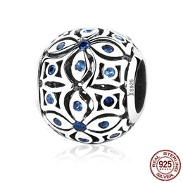 925 Sterling Silver Charms With Blue Crystals S925 Bead Charm Women Jewe...