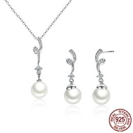 Popular Elegant 925 Sterling Silver White Pearl Jewelry