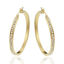 1Pair Large Big Hoop Earrings For Women Gold-Color Stainless Steel