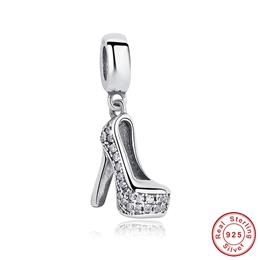 925 Pure Silver heels Shape Sparkling Shoe Stiletto Clear CZ Charm