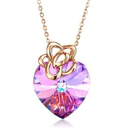 Women Pendants Necklace S925 Sterling Silver Purple Jewelry New Fashion