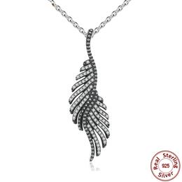 New Arrival 925 Sterling Silver Majestic Feathers Pendants Necklaces With Clear CZ  Necklaces