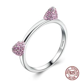 Real 100% 925 Sterling Silver Cute Cat Ears Pussy Ears Ring