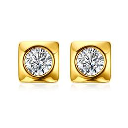 Shiny CZ Stone Stud Earrings for Women Wedding Gold-color Stainless Stee...