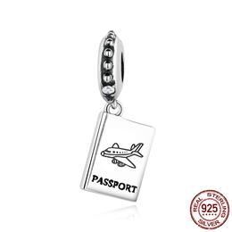 925 Sterling Silver PASSPORT Airplane Charm Fit Bracelet
