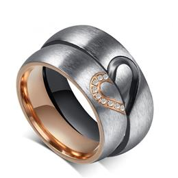 Hers Love Heart Wedding Promise Ring Set Stainless Steel Ring