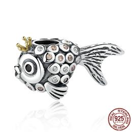 Lovely Vintage 925 Sterling Silver Crown Fish Beads Charms