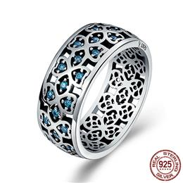 100% 925 Sterling Silver Petals of Love Sweet Clover Blue CZ Finger Rings