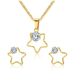 Five Stars Necklace And Earrings Jewelry Sets For Women Fashion CZ Stone Jewelry Sets
