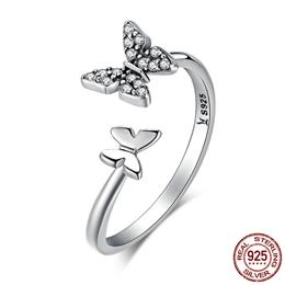 Hot Sale 925 Sterling Silver Dazzling CZ Butterfly Open Finger Ring
