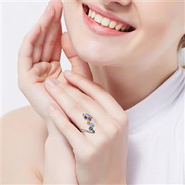 Luxury Ring 925 Silver Romantic Anniversary Mulit Color Engagement Ring Women Jewelry