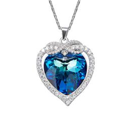 Austrian Rhinestone Pendant Women Necklaces Heart Shaped Blue Jewelry Clothing Accessories