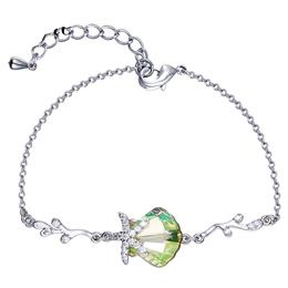 Women Bracelets Silver Color Austrian Rhinestone Paved Chic Green Oval