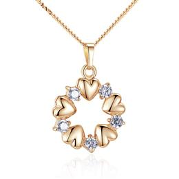Gold Color Heart Necklaces Pendants with AAA Zircon  Pendants