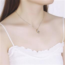Luxurious Necklace Women Pendants Elegant Moon Cat Shape Bijous Chain Ne...