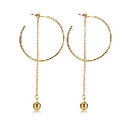 Stylish Ball Charm Long Chain Drop Earrings For Women Large Gold-Color Daily Party