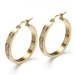 Big Round Hoop Earrings For Women Gold-Color With CZ Stone