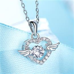 Dancing Stone Necklace Women Pendants Jewelry Fashion Angel Wings Chic