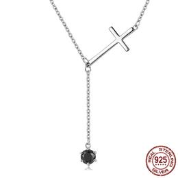 925 Sterling Silver Faith Cross Black CZ Tassel Long Necklace