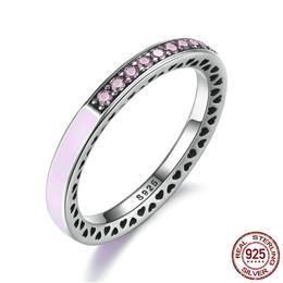 100% 925 Sterling Silver Radiant Hearts Light Pink Enamel  Ring