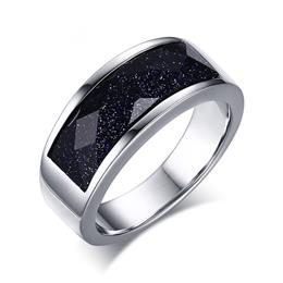 Unique Blue Gravel Rings For Women Silver-color Starry  Rings