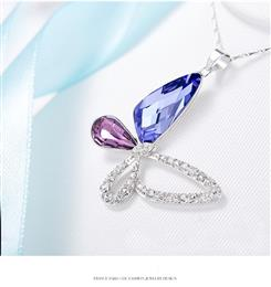 Necklace Women Pendants S925 Sterling Silver Jewelry Blue Purple Butterf...