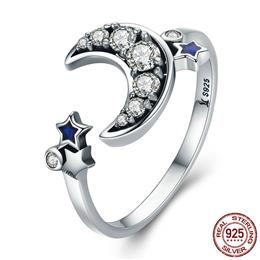 925 Sterling Silver Crescent Moon Star Dazzling CZ Open Finger Ring