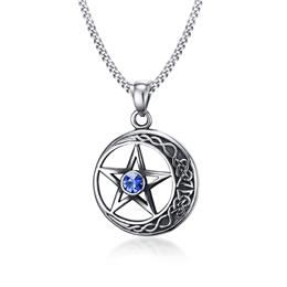 Vintage Star Moon Stainless Steel Necklaces Pendant For Men