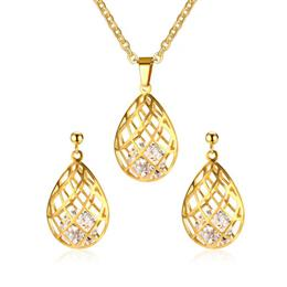 Three-dimensional Drop Water Necklace and Earrings Jewelry Sets For Women Fashion