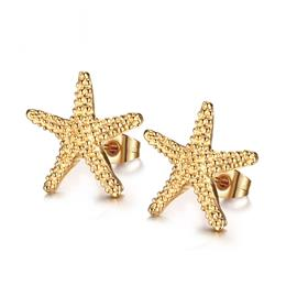 Elegant Gold-color Starfish Stud Earrings Lovely Ocean Star