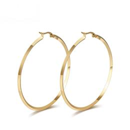 Round Hoop Earrings For Women Big Stainless Steel Jewelry