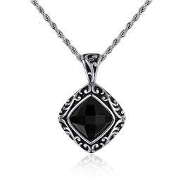 Inlaid Black Crystal Necklace Pendant