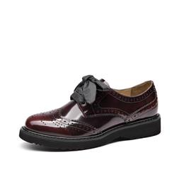 Brogue Shoes Women Genuine Leather Lace-Up Flats Round Toe Glazed Patent Cow Leather