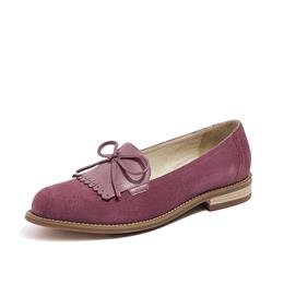 Women Handmade Shoes Bowknot Fringe Ladies Sheepskin Suede Casual Flats