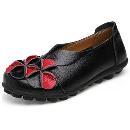 Women Single Shoes Flat Casual Shoes Soft Slip-on Genuine Leather Shoes