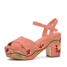 Fashion Summer Wedges Platform with Patterned heel Suede leather Ladies Sandals