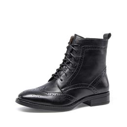 Women Brogue Style Handmade Shoes Lace Up Zipper Full Grain Leather Chic Martin Boot