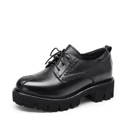 Genuine Leather Causal Shoes Women New Fashion Lace-Up Platform