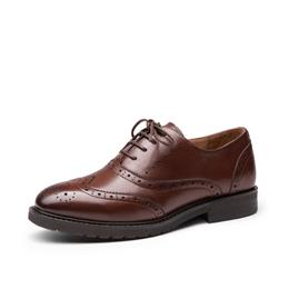 Oxfords Women Lace-Up Top Quality Brand Shoes Waxing Leather Wingtip Ladies Flats