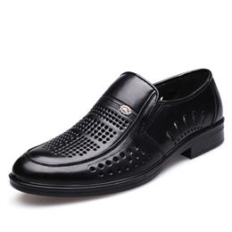 Men Casual Leather Shoes Summer Breathable Hollow Cut Genuine leather Loafers